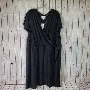 🔥 Simply Emma Black Faux Wrap Dress NWT 3XL